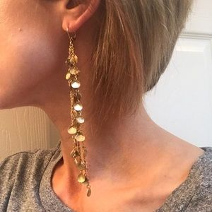 Jewelry - Long gold shell earrings
